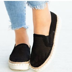 Espadrille pinhole flat slip on sneakers